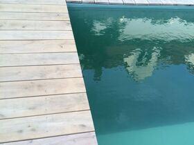 Eichendielen um den Schwimmteich fertig, Wasser natürlich glasklar!